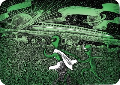 Alien Apu Alien Durga Paper Print