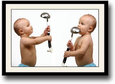 Baby playing with utensils Fine Art Print