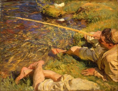 The Museum Outlet John Singer Sargent - Val d,Aosta, A Man Fishing (Medium) Canvas Painting