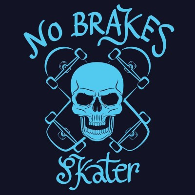 No Brakes Skater Premium Poster Canvas Art