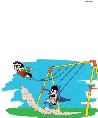 Batman & Robin on the swings Athah Fine Quality Poster Paper Print