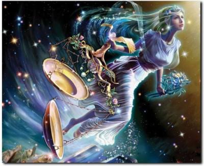 Stybuzz Libra Woman Horoscope Frameless Canvas Art(22 inch X 18 inch)