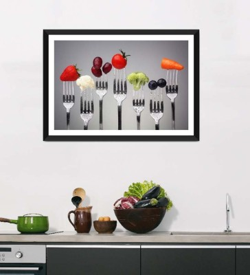 Tallenge Art For Kitchen - Bite Of Healthy Food For A Healthy Life - Framed Art Print On Photographic Paper