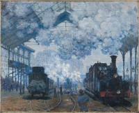 Tallenge Old Masters Collection - Saint Lazare Station In Paris, Arrival of a Train By Claude Monet - A3 Size Premium Quality Rolled Poster Paper Prin