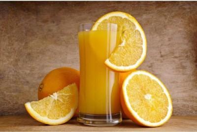 Athah Poster Orange Juice With Orange Slice Frameless Print Paper Print