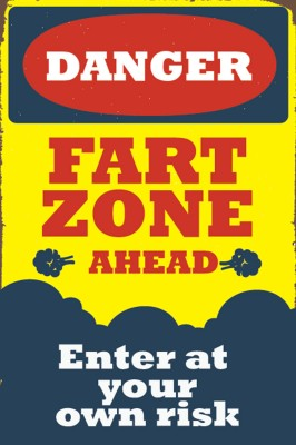 Seven Rays Danger Fart Zone Ahead Paper Print (Small) Paper Print
