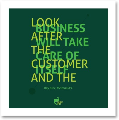Athah Fine Quality Poster Look after the customer - Ray Kroc McDonalds White Square Frame Paper Paper Print