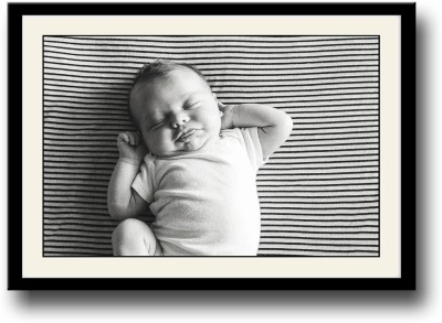 Baby sticking tongue out b&w Fine Art Print