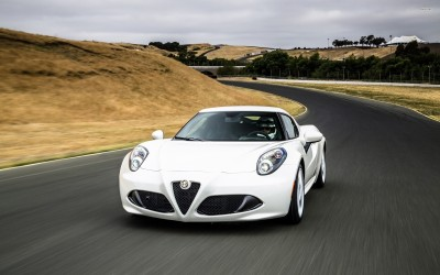 Athah White Alfa Romeo 4C front view Poster Paper Print