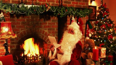 New Year Christmas Santa Claus Letter Gifts Fireplace Christmas Tree Teddy Bear Candle Poster Paper Print