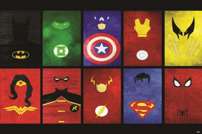 ALL SUPER HEROS SIGN POSTER Paper Print