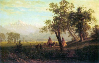 The Museum Outlet Wind River Mountains in Nebraska by Bierstadt - Print (24 x 18 Inch) Canvas Painting