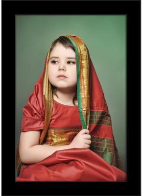 A Little Girl Is In The National Indian Suit Framed Art Print Canvas Art(10.5 inch X 7.0 inch, Framed)