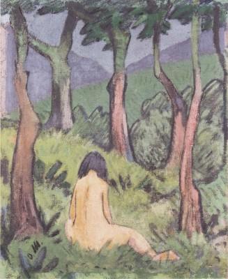 Otto Mueller - Sitzender Akt unter Baumen - ca1920 (Medium) Paper Print