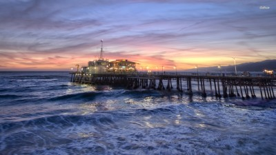 Athah Fine Quality Foamy waves under the Santa Monica Pier poster Paper Print