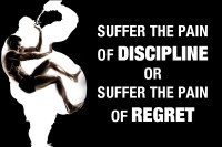 Oshi - Suffer the pain of Discipline or Suffer the pain of Regret Paper Print(12 inch X 18 inch, Streched)