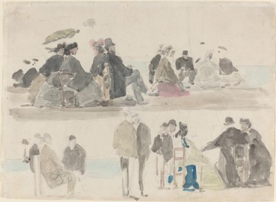 The Museum Outlet Ladies and Gentlemen on the Beach, in Two Registers, 1865 (Medium) Canvas Painting