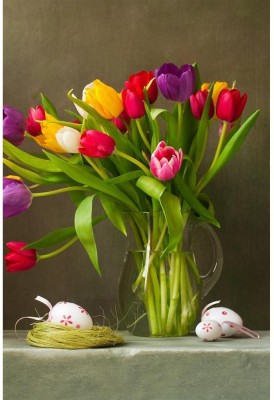 Tulips And Easter Eggs Premium Poster Paper Print