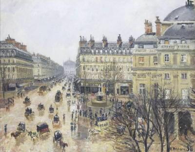 Place du Theatre Francais, Rain, 1898 (Medium) Paper Print