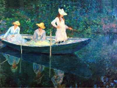 The Museum Outlet women fishing - Print (24 x 18 Inch) Canvas Painting