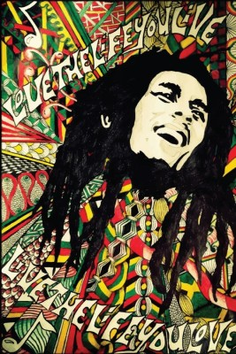 Athah Fine Quality Poster sk Bob Marley ,Live The Life You Love, Paper Print