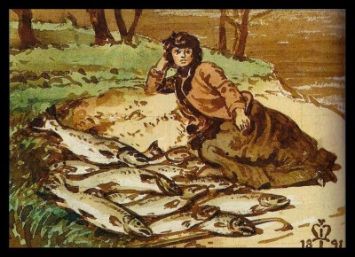 Mary Millais with a huge catch of salmon by the Tay by her father, 1891 (Medium) Paper Print