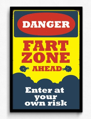Seven Rays Danger Fart Zone Ahead Framed (Small)