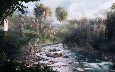Movie Avatar Landscape Scenic Mountain Cliff Surreal Island River HD Wall Poster Paper Print