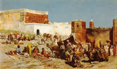 The Museum Outlet - Art Postcard - Weeks Edwin Lord Open Market Morocco Paper Print(7 inch X 5 inch, Flat)