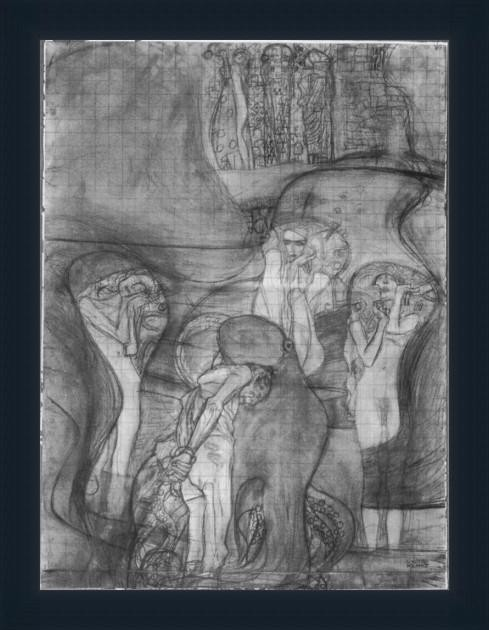 Composition Draft Of The Law By Klimt - ArtsNyou Printed Paintings Canvas Art class=