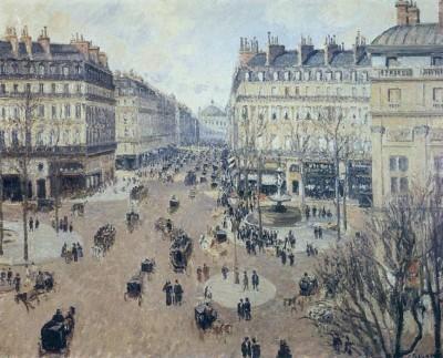 Place du Theatre Francais - Afternoon Sun in Winter, 1898 (Medium) Paper Print