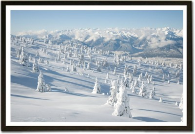 Framed Frozen Trees In Snowy Mountain Paper Print