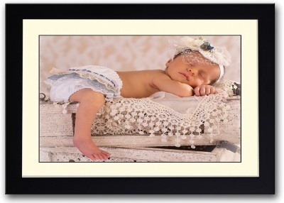Baby Sleeping On Crates Fine Art Print(14 inch X 20 inch, Framed)
