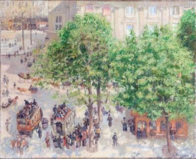 Place du Theatre Francais - Spring, 1898 (Medium) Paper Print