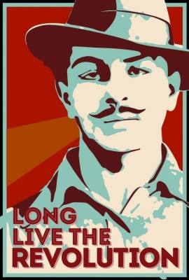 Athah Poster Bhagat Singh - Long Live the Revolution Paper Print