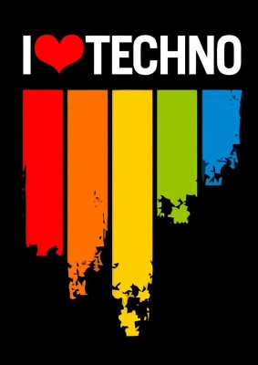 I Love Techno A3 NON TEARABLE High Quality Printed Poster - Wall Art Print (Size : 11.7 x 16.5) , For Bedroom , Living Room, Kitchen, Office, Room Paper Print