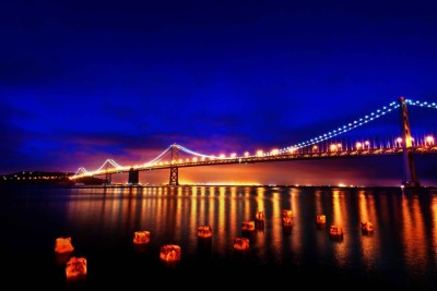 Athah Poster Oakland Bay Bridge - Golden Reflection Paper Print