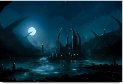 Athah Poster D Dark Fantasy Kingdon in The Moon Light D Poster Paper Print