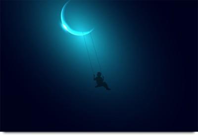 Night Sky Moon Swings in Dreams Fantasy Fiction Paper Print