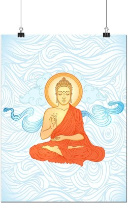 Beautiful Blessing Buddha in Blue A3 Poster by Heartzy Paper Print