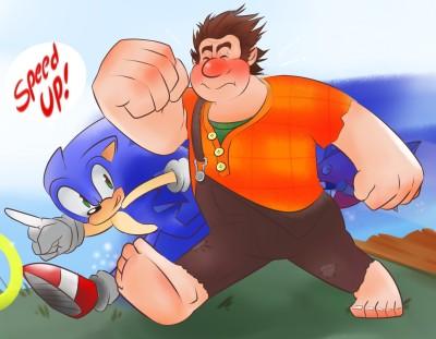 Movie Wreck-It Ralph Wreck-it Ralph Ralph Sonic Hedgehog Text HD Wall Poster Paper Print