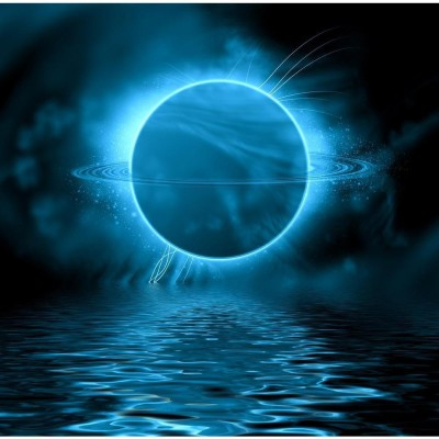 Fantasy Planet Reflected In Water Surface Space Premium Poster Canvas Art