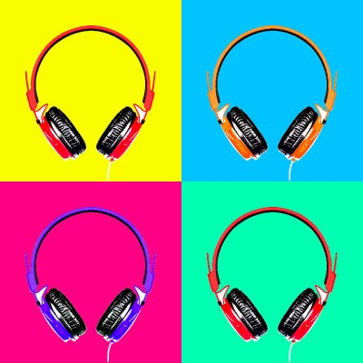 Seven Rays Headphones Music Pop Art Paper Print