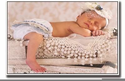 Posterhouzz Baby sleeping on crates Fine Art Print(12 inch X 18 inch, Rolled)