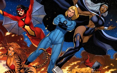 Comics Marvel Invisible Woman Spider-Woman Tigra HD Wallpaper Background Fine Art Print