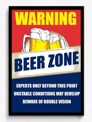 Seven Rays Warning Beer Zone Framed Paper Print