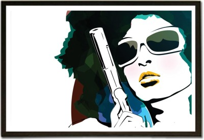 Framed Girl with Pistol Fine Art Print(13 inch X 19 inch, Framed)