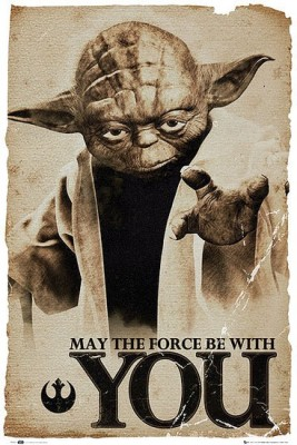 Posterhouzz Star Wars Yoda May the Force Poster Paper Print