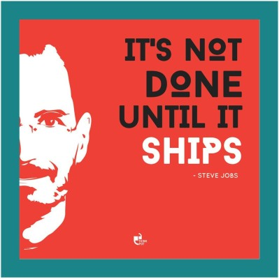 Athah It's not done until it ships - Steve Jobs Apple Blue Square Photographic Paper Paper Print