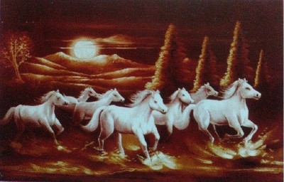 Bm Traders 7 White Horses Rolled Brown Poster Big Paper Print